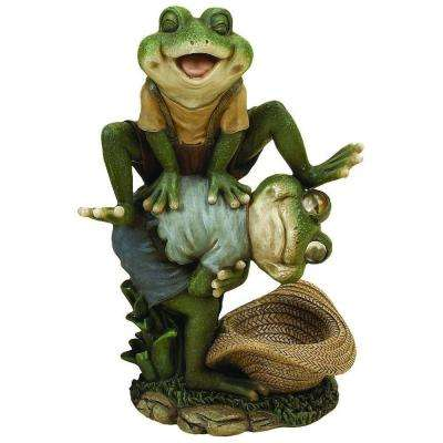 13 in. H x 7 in. W Leaping Frog Garden Statue