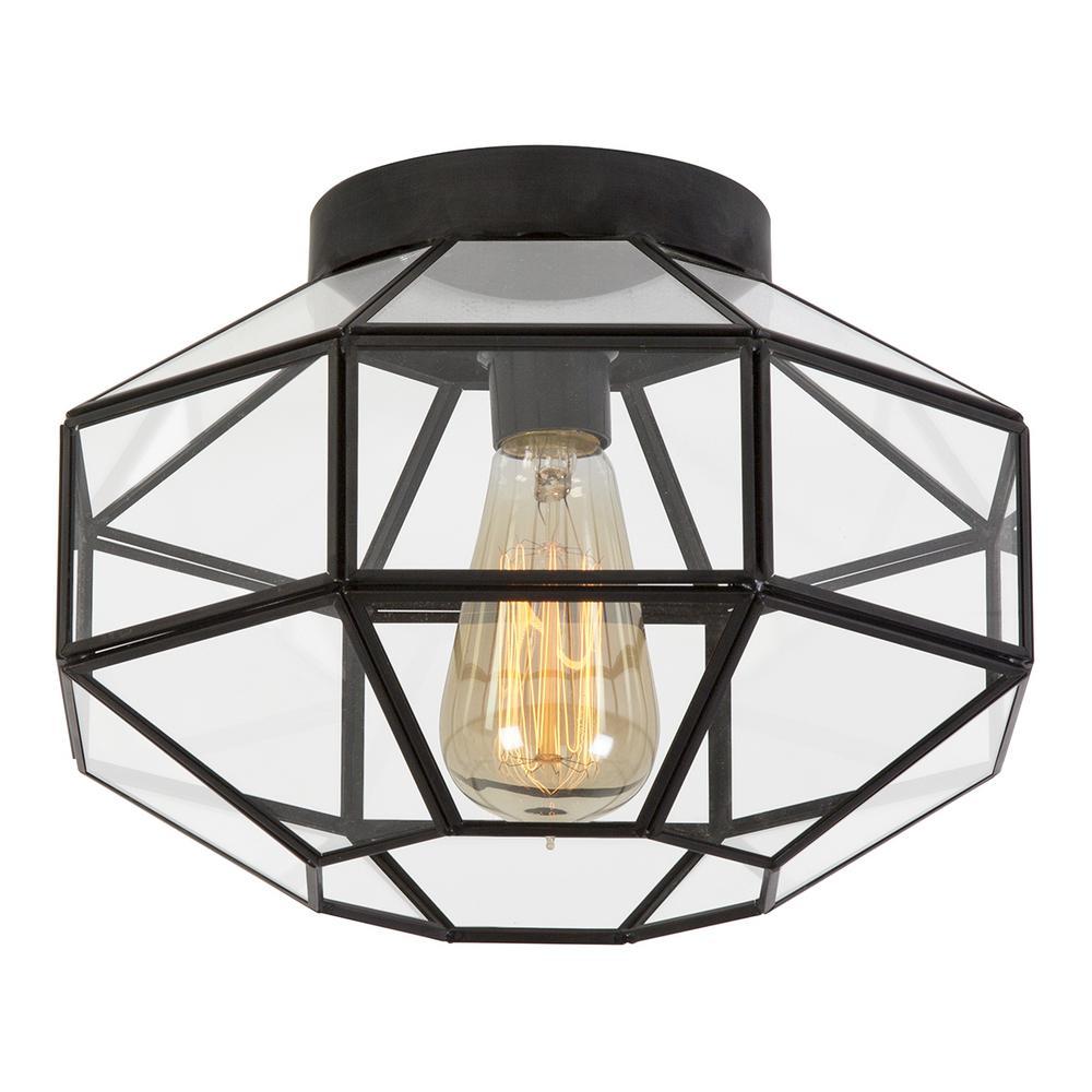10 in. Vintage Black Flush Mount Light