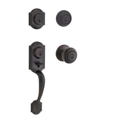 Montara Single Cylinder Venetian Bronze Handleset with Juno Entry Knob and Juno Exterior Combo Pack Featuring SmartKey
