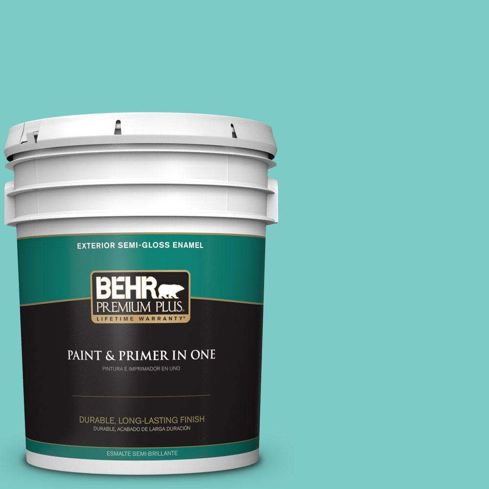 5-gal. #BIC-39 Blue Green Gem Semi-Gloss Enamel Exterior Paint