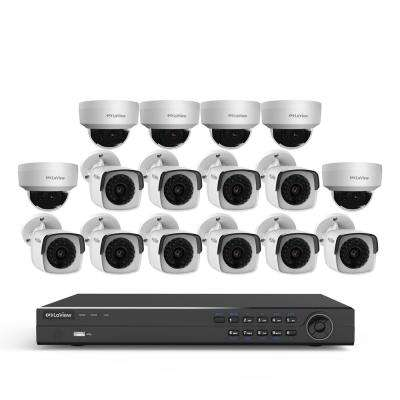 16-Channel 4MP 3TB IP NVR Surveillance System (10) 4MP Bullet Cameras (6) 4MP Dome Cameras with Remote View