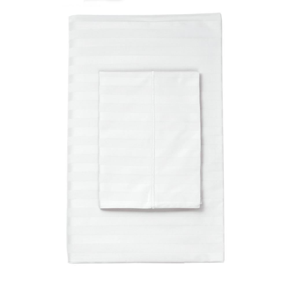 The Company Store Classic Stripe White Sateen King Pillowcase (Set of