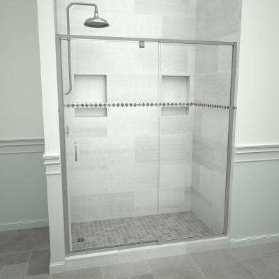 Redi Swing 5100 72 in. W x 72 in. H Framed Pivot Shower Door in Brushed Nickel with Handle and Clear Glass