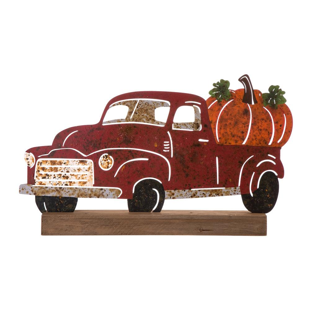 Glitzhome 25.87 in. L x 15.35 in. H Wooden/Metal Rusty Truck Table Decor