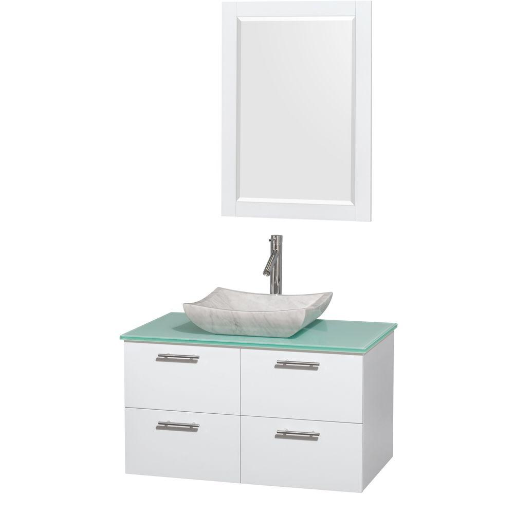Wyndham Collection Amare 36 in. Vanity in Glossy White with Glass Vanity Top in Green, Marble Sink and 24 in. Mirror