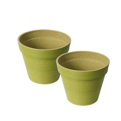 Round Banded Spun Green Polystone Planter 2 Pack