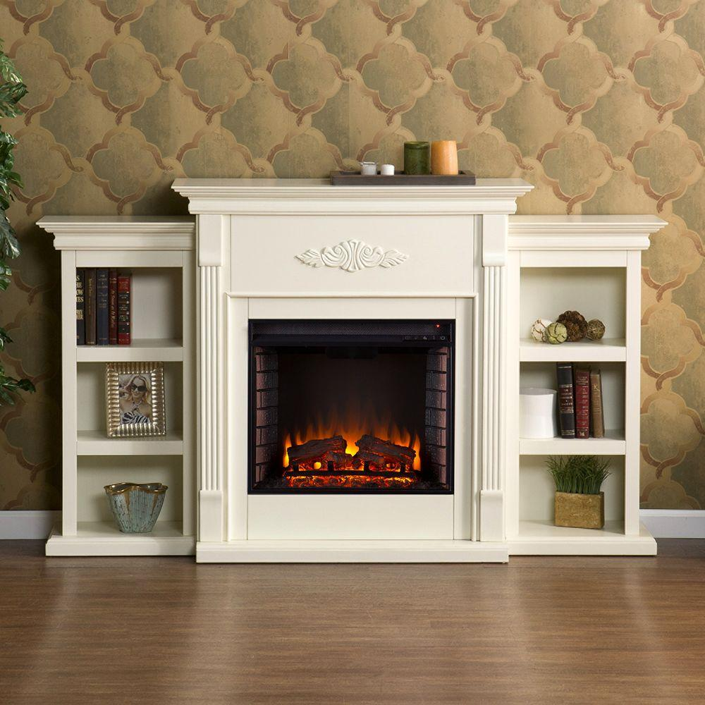 Southern Enterprises Jackson 70.25 in. Freestanding Electric Fireplace in Ivory with Bookcases