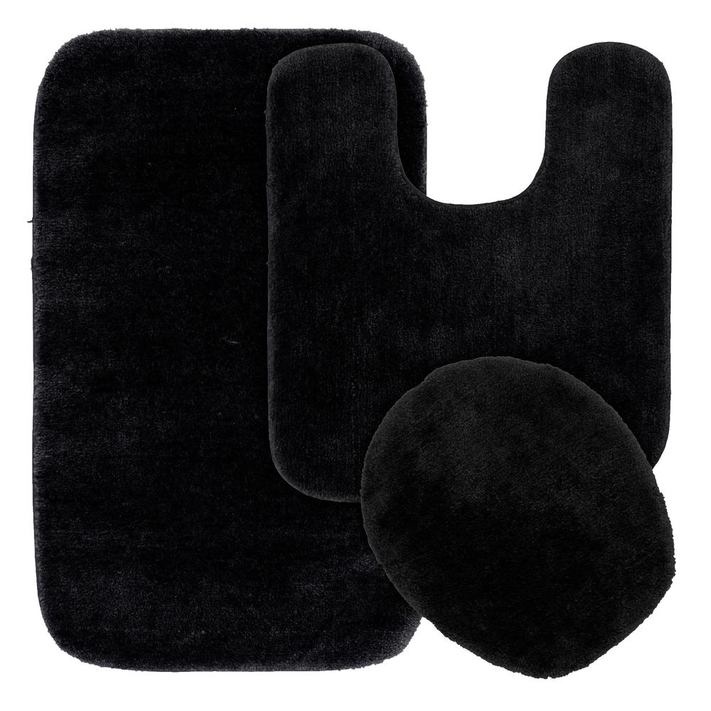 incredible Black Bathroom Rug Sets Part - 9: Garland Rug Traditional 3 Piece Washable Bathroom Rug Set in Black