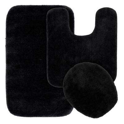 Traditional 3 Piece Washable Bathroom Rug Set in Black