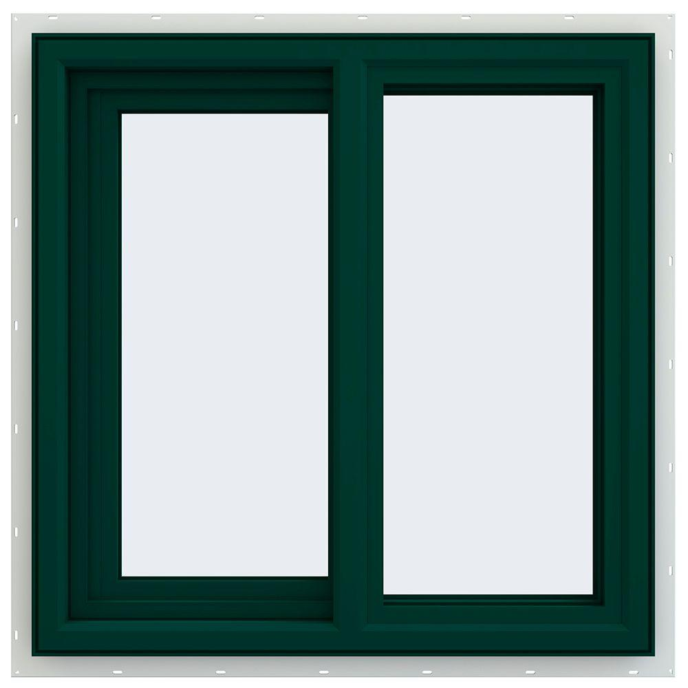 JELD-WEN 23.5 in. x 23.5 in. V-4500 Series Left-Hand Sliding Vinyl Window - Green