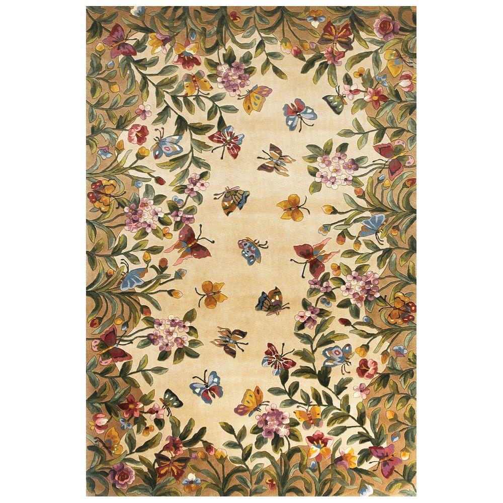 Butterfly Lore Beige 3 ft. 6 in. x 5 ft. 6