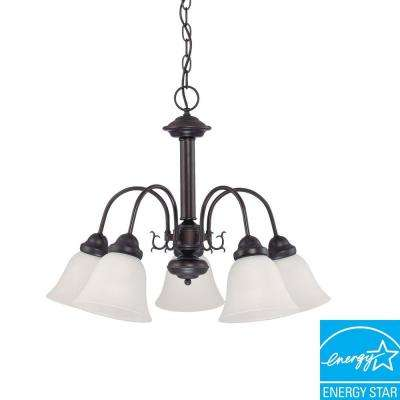 5-Light Mahogany Bronze Fluorescent Ceiling Chandelier