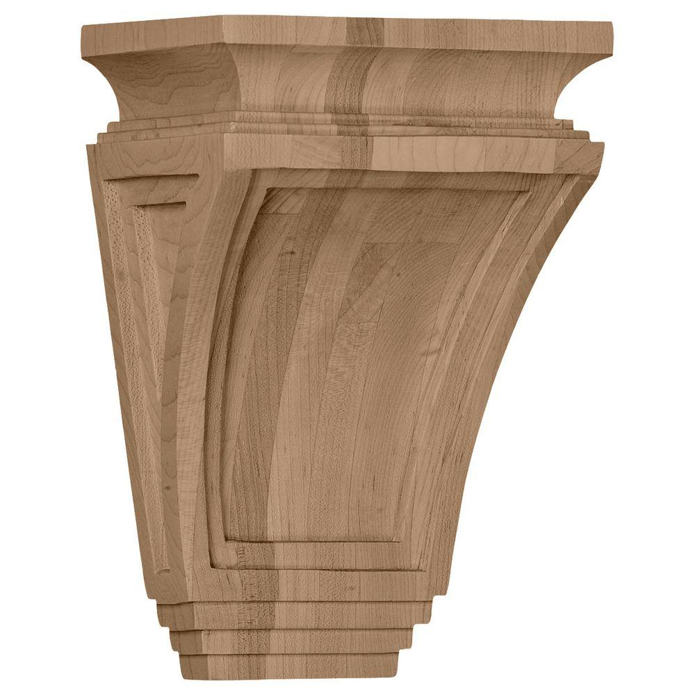 Ekena Millwork 6 in. x 4 in. x 9 in. Rubberwood Arts and Crafts Corbel