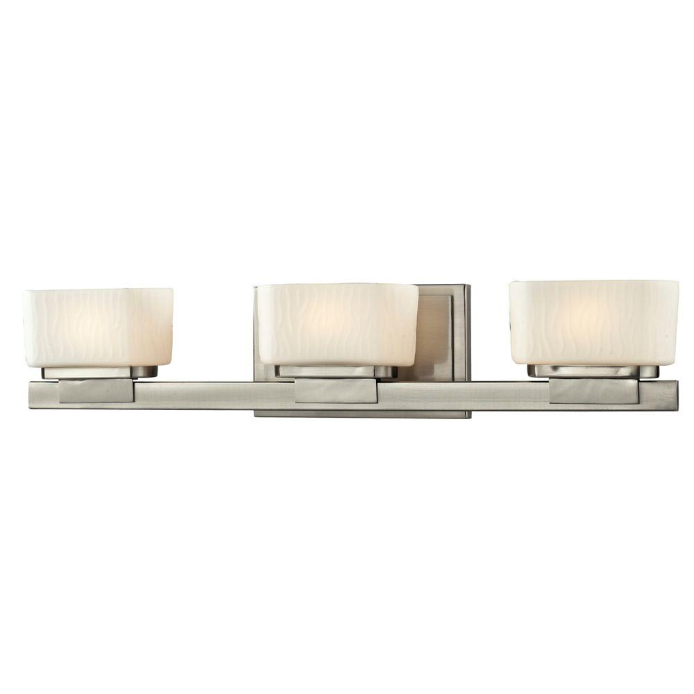 Filament design terra 3 light brushed nickel bath vanity for Brushed nickel bathroom lighting fixtures
