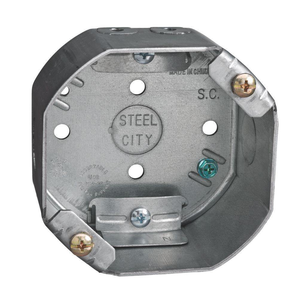 4 in. 22 in. Pre-Galvanized Steel Octagon Ceiling Fan Support Box (Case of 10)