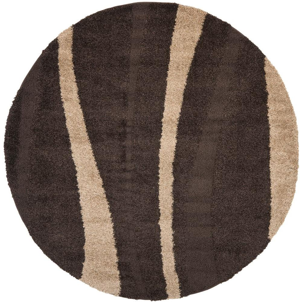 Safavieh Florida Shag Dark Brown Beige 4 Ft X Round Area
