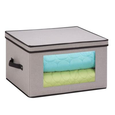 Dinnerware Storage Box 17 in. D x 13.5 in. W x 10.5 in. H Gray Canvas - Goblet Style Wine Glasses