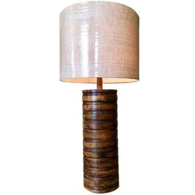 27 in. Mango Wood Brown Table Lamp with Off-White Linen Striped Shade