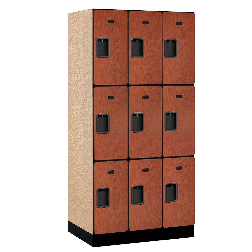 33000 Series 36 in. W x 76 in. H x 21 in. D 3-Tier Designer Wood Locker in Cherry