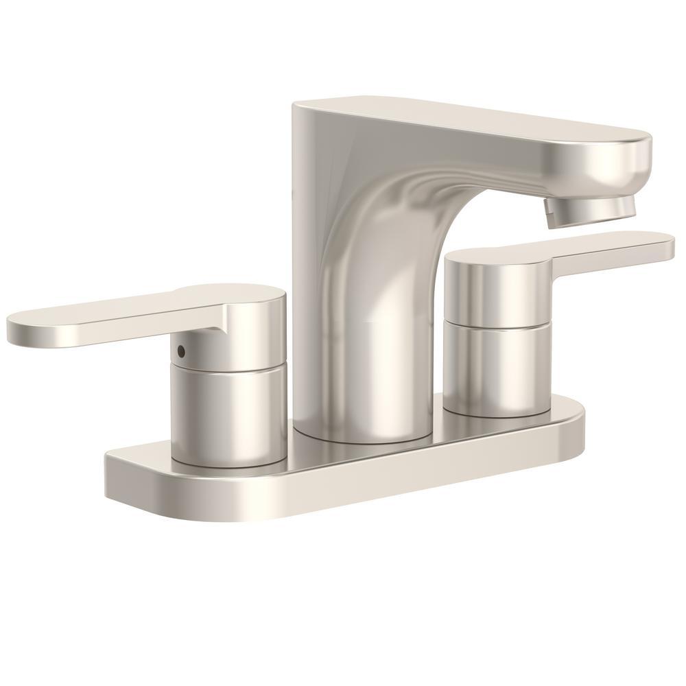Identity 4 in. Centerset 2-Handle Bathroom Faucet in Satin Nickel