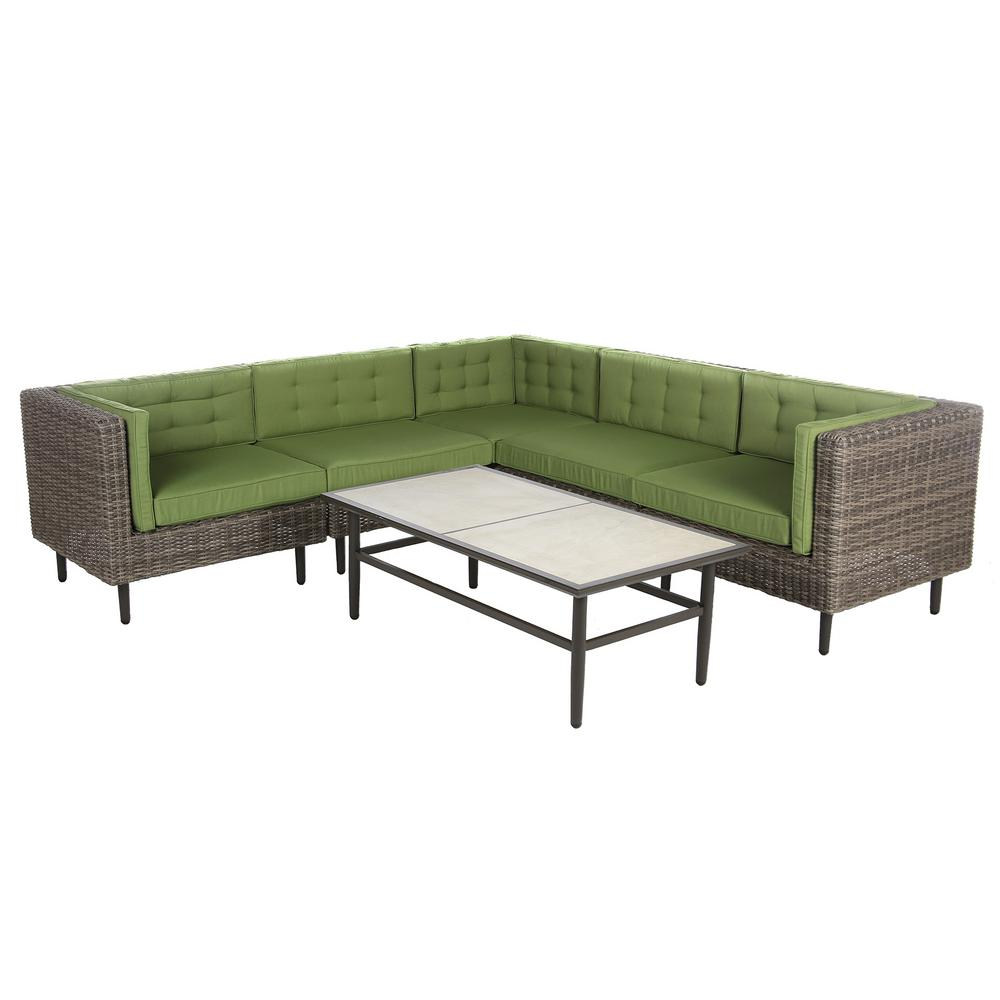 Ae Outdoor Aimee 6 Piece Wicker Patio Sectional Seating Set With Spectrum Cilantro Cushions