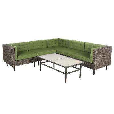 Aimee 6-Piece Wicker Patio Sectional Seating Set with Spectrum-Cilantro Cushions