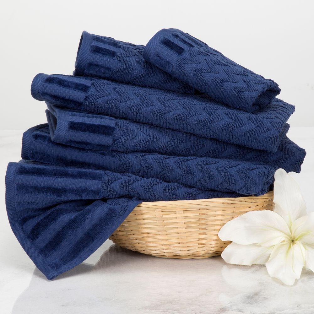 Chevron Egyptian Cotton Towel Set In Navy 6 Piece