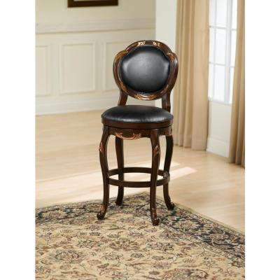 Alaina 30 in. Cherry Swivel Cushioned Bar Stool