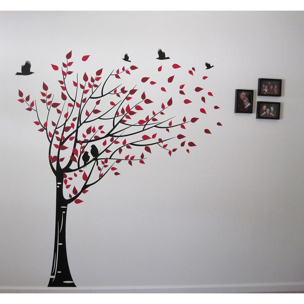 75 In X 78 In Black Trunk Red And Dark Red Leaves Gone With The Wind Tree Removable Wall Decal