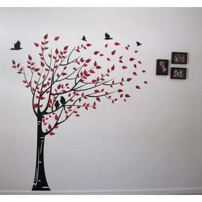 75 in. x 78 in. Black Trunk, Red and Dark Red Leaves Gone with the Wind Tree Removable Wall Decal