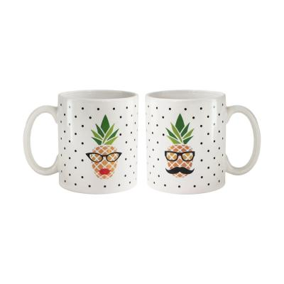 15 oz. White Ceramic His and Her Pineapple Coffee Mugs (Set of 2)