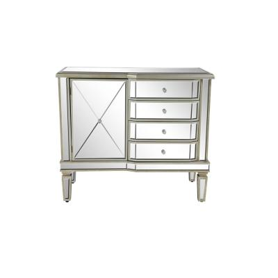 Silver Wooden Accent Cabinet with Mirrored Design