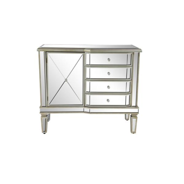 Litton Lane Silver Wooden Accent Cabinet with Mirrored Design 58765