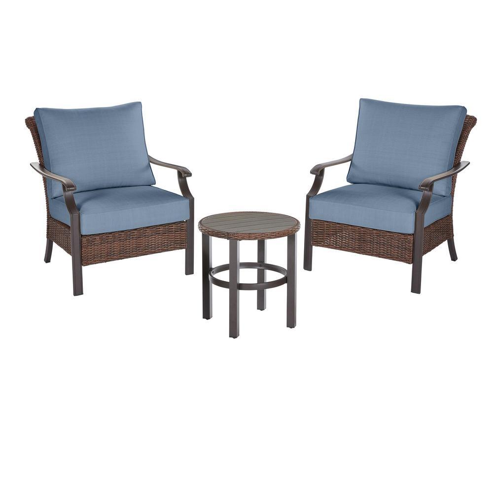 Harper Creek  Brown 3-Piece Steel Outdoor Patio Chair Set with Sunbrella Denim Blue Cushions