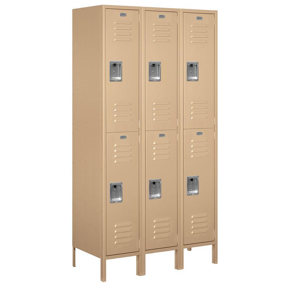 Salsbury Industries 52000 Series 45 in. W x 78 in. H x 18 in. D Double Tier Extra Wide Metal Locker Assembled in Tan