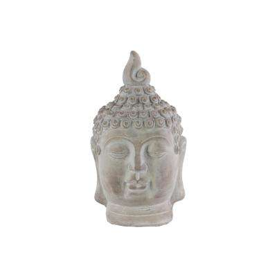 12.25 in. H Buddha Decorative Sculpture in Gray Washed Finish