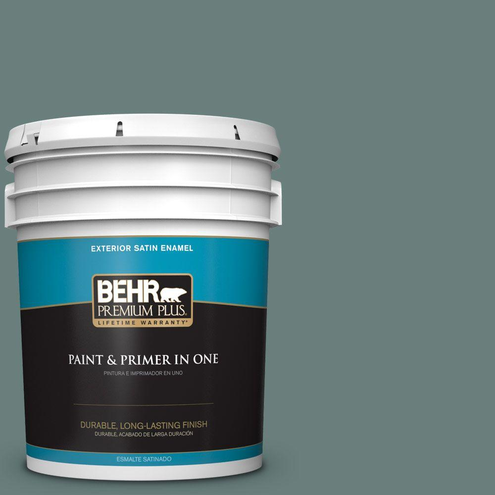 BEHR Premium Plus 5-gal. #N430-5 Aspen Valley Satin Enamel Exterior Paint