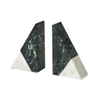 White/Green Marble Bookends