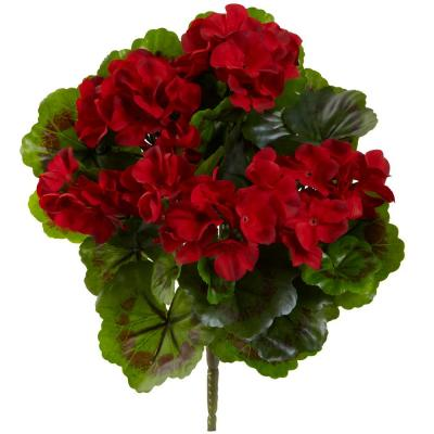 UV Resistant Indoor/Outdoor Geranium Artificial Bush (Set of 4)