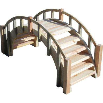 33 in. Fairy Tale Wood Garden Bridge with Decorative Picket Railings