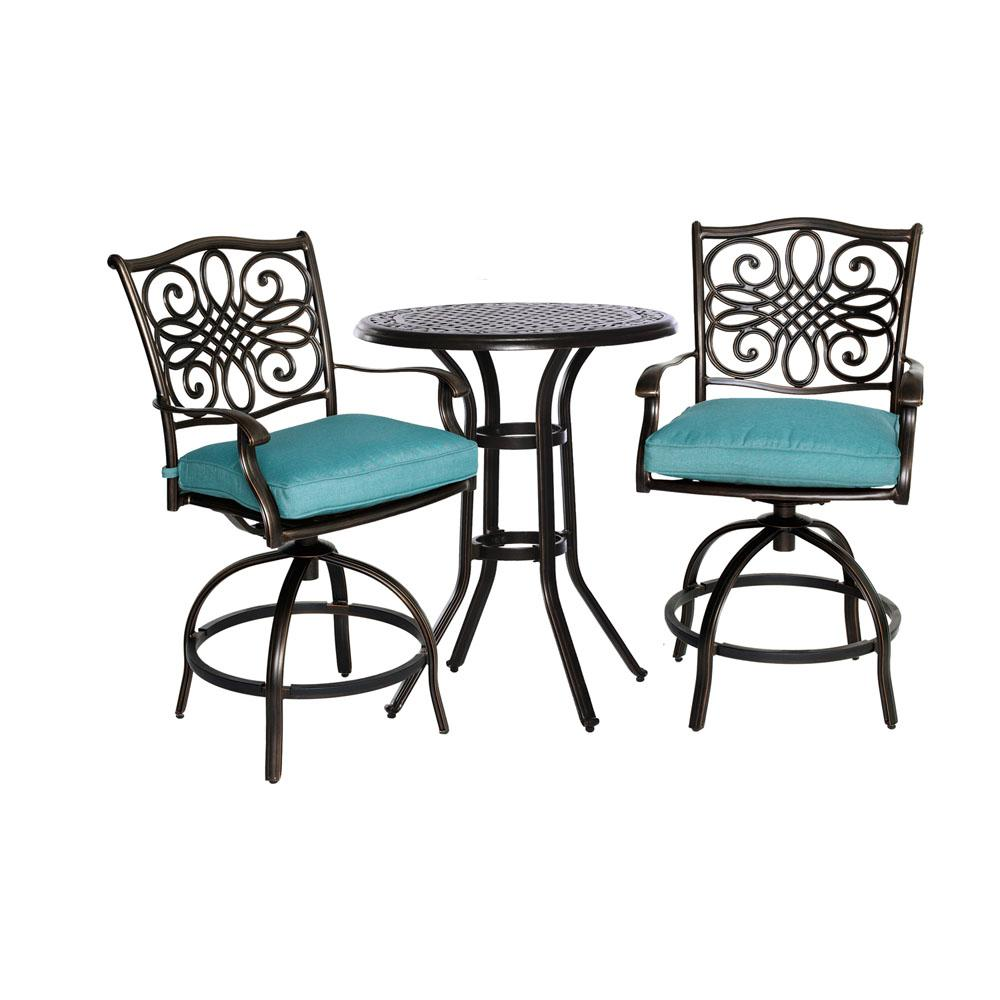 Hanover Traditions 3 Piece Aluminum Round Bar Height Patio Bistro Set With Blue Cushions