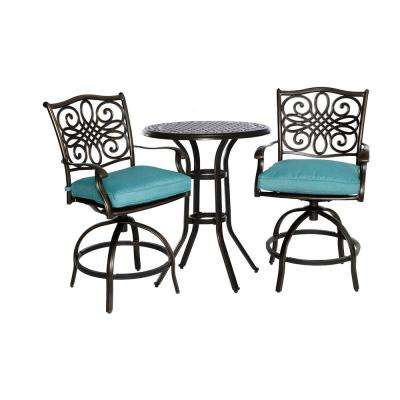 Traditions 3-Piece Aluminum Round High Dining Patio Bistro Set with Blue Cushions