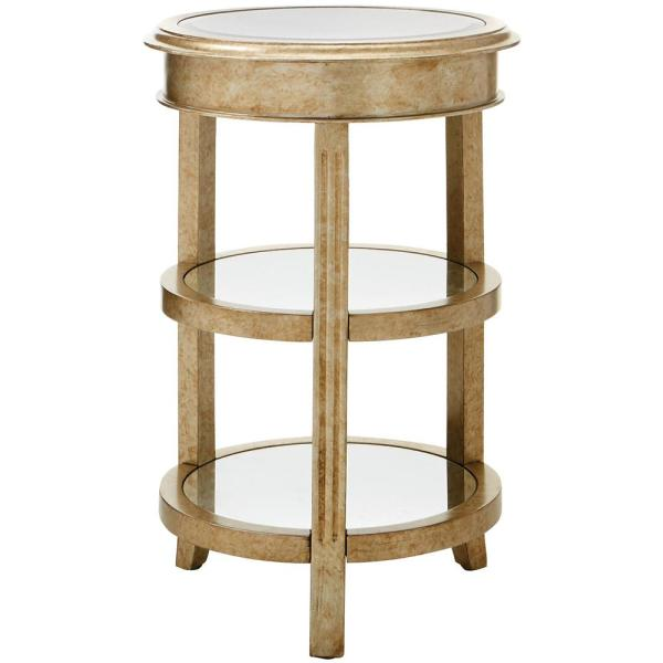 Bevel Mirror Gold Round Accent Table 9947800530 The Home Depot