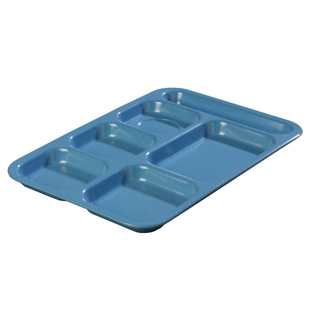 Carlisle 14.5 in. x 10 in. Melamine Right Hand 6-Compartment Tray in Sand Shades Variegated Blue (Case of 12)