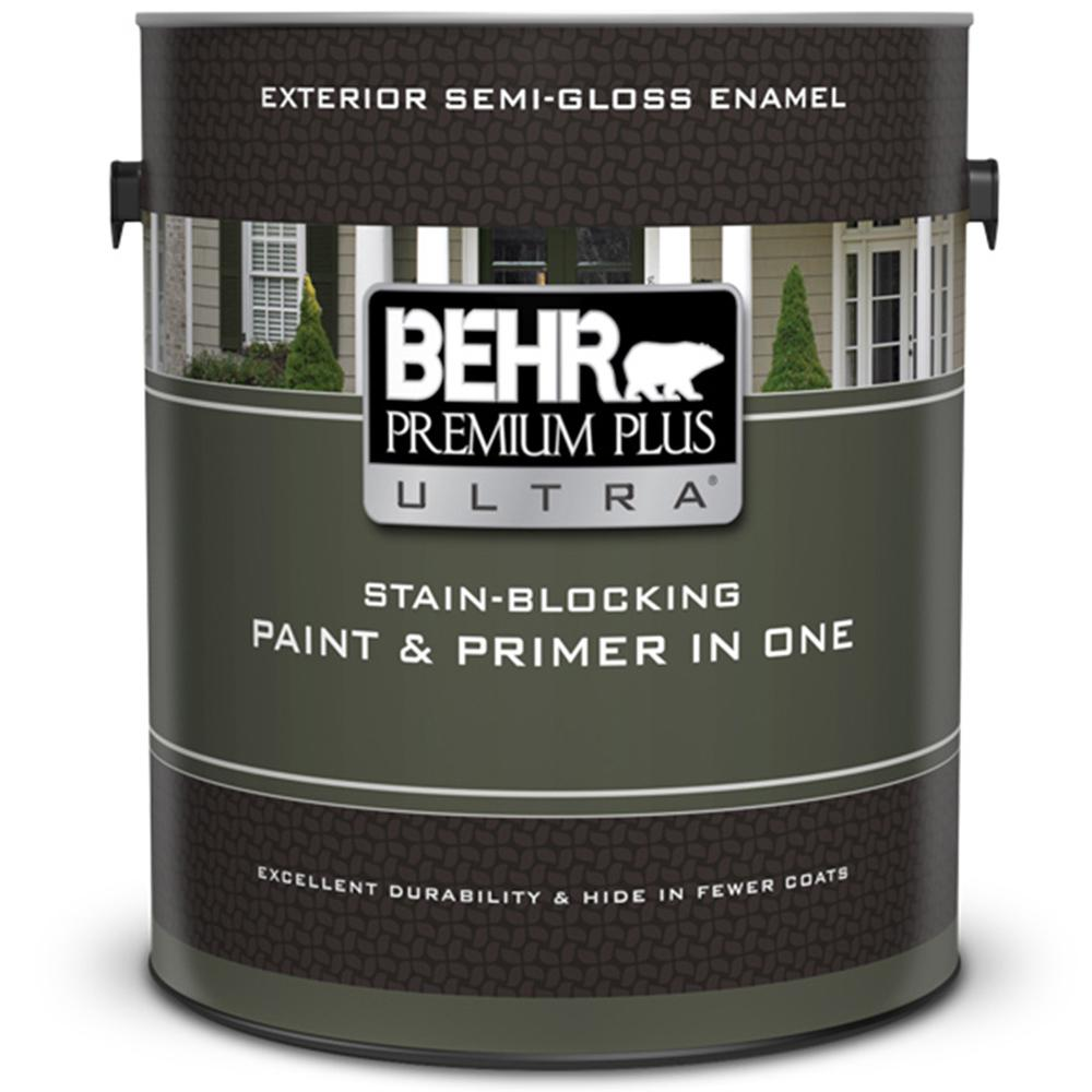 BEHR Premium Plus Ultra 1 Gal. Ultra Pure White Semi-Gloss
