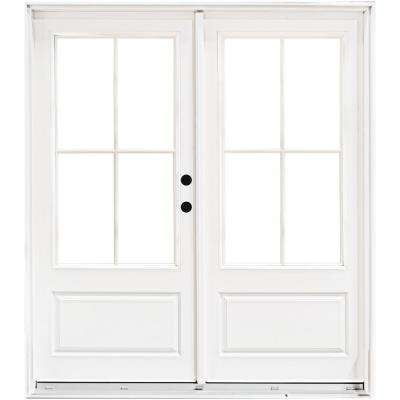 72 in. x 80 in. Fiberglass Smooth White Left-Hand Inswing Hinged 3/4-Lite Patio Door with 4-Lite SDL