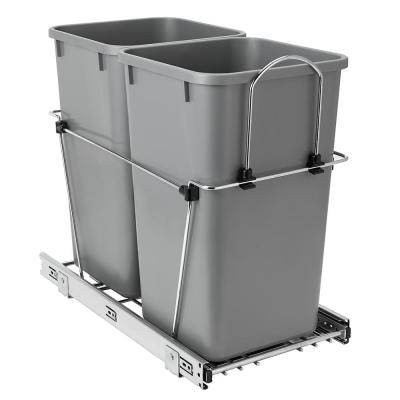 23 in. D x 12 in. W x 20 in. H Double 27 qt. Pullout Waste Bin Metal Closet System in Gray