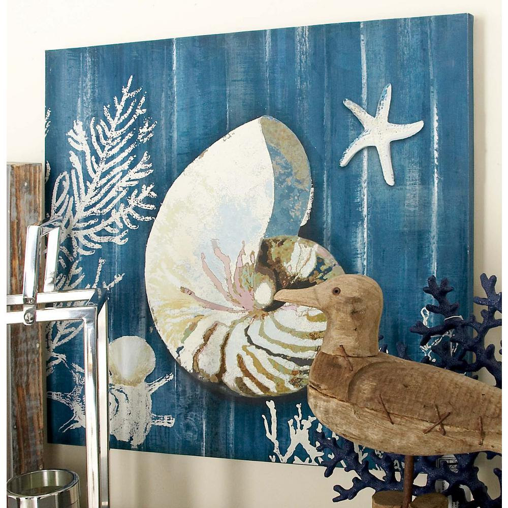 "20 in. x 20 in. ""Nautilis Shell and Coral Fan"" Canvas"