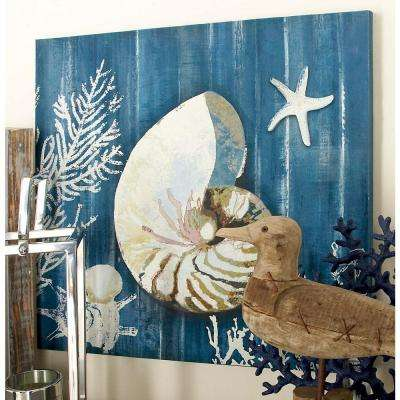 "20 in. x 20 in. ""Nautilis Shell and Coral Fan"" Canvas Wall Art"