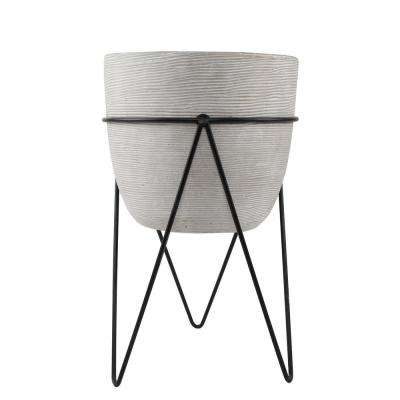 12.5 in. H Gray Cement Concrete Planter on Metal Stand Mid-Century Planter